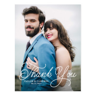 Handwritten Calligraphy Wedding Thank You Postcard