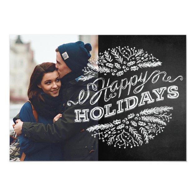 Handwritten Chalkboard Happy Holidays Photo Card