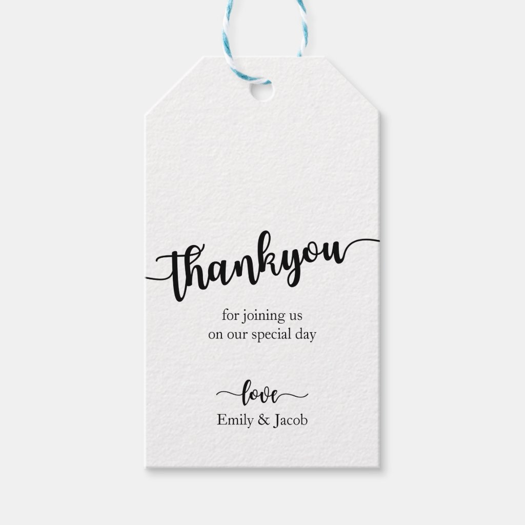 Handwritten Chic Wedding Thank You Gift Tags