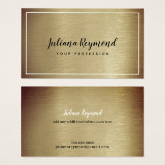 handwritten cursive name on brownish old gold business card