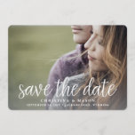 "Handwritten | Double-Sided Photo Save the Date<br><div class=""desc"">A modern save the date card designed to accommodate your favorite horizontal or landscape oriented full-bleed engagement photo, with an additional photo on the back. ""Save the date"" appears as an overlay along the bottom in white handwritten style script lettering, with your names, wedding date and wedding location beneath. Add...</div>"