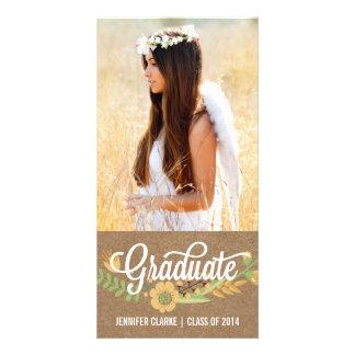 HANDWRITTEN FLOWER KRAFT GRADUATION ANNOUNCEMENT CUSTOM PHOTO CARD