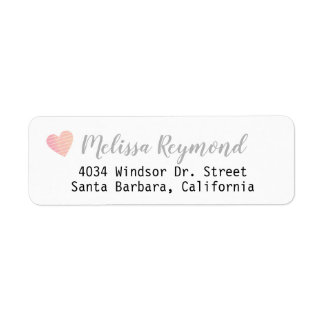 handwritten font return address label with heart