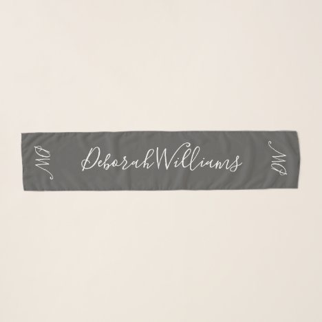 handwritten font style name on gray scarf