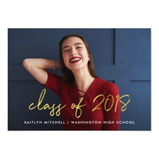 Handwritten Gold | Class of 2018 Photo Grad Party Card