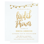 Handwritten Gold String Of Lights Bridal Shower Card