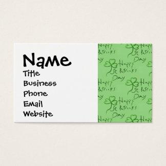 Handwritten Happy St Patrick's Day Shamrock Clover Business Card