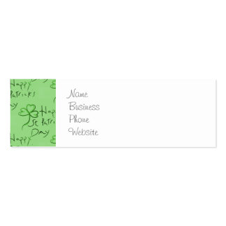 Handwritten Happy St Patrick's Day Shamrock Clover Double-Sided Mini Business Cards (Pack Of 20)