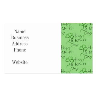 Handwritten Happy St Patrick's Day Shamrock Clover Double-Sided Standard Business Cards (Pack Of 100)
