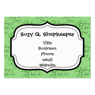 Handwritten Happy St Patrick's Day Shamrock Clover Large Business Cards (Pack Of 100)