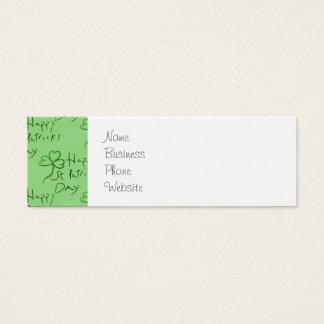 Handwritten Happy St Patrick's Day Shamrock Clover Mini Business Card