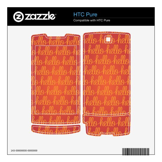Handwritten Hello Pattern -red HTC Pure Decal