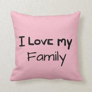 Handwritten I love my family -Pink Design Throw Pillow