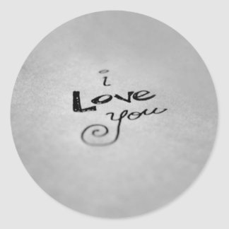 Handwritten I Love You Classic Round Sticker