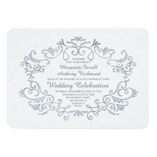 Handwritten ink flourishes cute wedding invitation