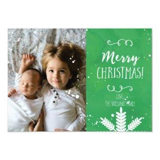 Handwritten Merry Christmas Green Photo Card