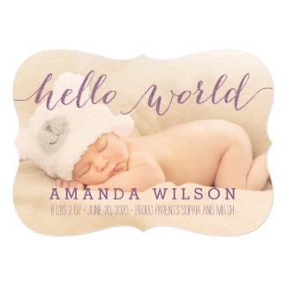"""Handwritten Modern Baby Birth Photo Announcement 5"""" X 7"""" Invitation Card"""