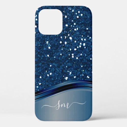 Handwritten Monogram Navy Blue  Metal Glitter iPhone 12 Case