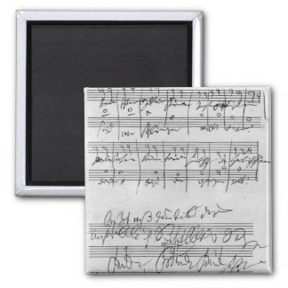Handwritten musical score 2 inch square magnet