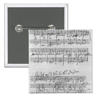 Handwritten musical score 2 inch square button