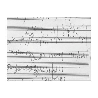 Handwritten musical score gallery wrapped canvas