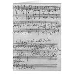 Handwritten musical score card