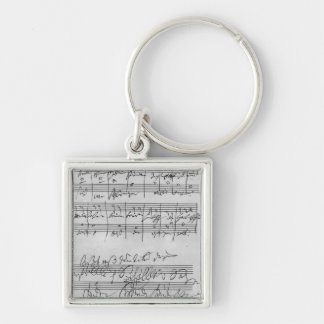 Handwritten musical score keychain