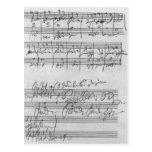 Handwritten musical score postcard