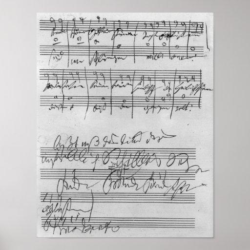 Handwritten musical score poster