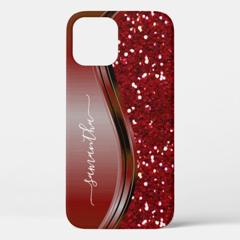 Handwritten Name Glam Red Metal Glitter 12 iPhone 12 Case