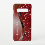 """Handwritten Name Glam Red Metal Glitter s10 Samsung Galaxy S10 Case<br><div class=""""desc"""">This design is also available on other phone models. Choose Device Type to see other iPhone, Samsung Galaxy or Google cases. Some styles may be changed by selecting Style if that is an option. You may also transfer this design to another product or phone case. The glitter is simulated in...</div>"""
