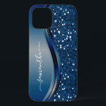 """Handwritten Name Navy Blue  Metal Glitter 12 iPhone 12 Case<br><div class=""""desc"""">This design is also available on other phone models. Choose Device Type to see other iPhone, Samsung Galaxy or Google cases. Some styles may be changed by selecting Style if that is an option. You may also transfer this design to another product or phone case. The glitter is simulated in...</div>"""