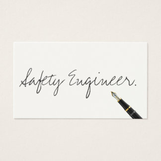 Handwritten Safety Engineer Business Card