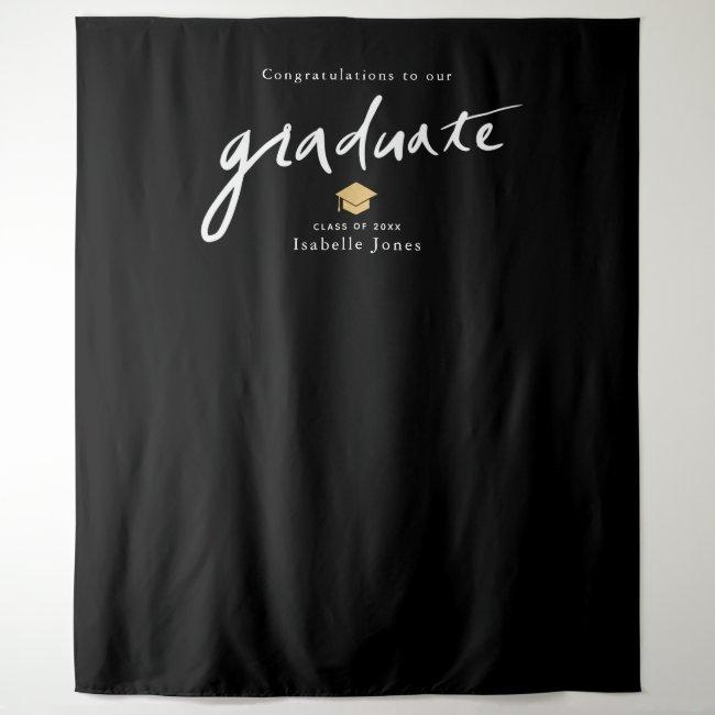 Handwritten Script Backdrop Prop White Graduation