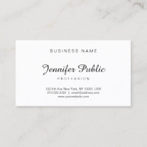 Handwritten Script Modern Elegant Minimalist Plain Business Card