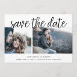 "Handwritten Script Multi Photo Save the Date<br><div class=""desc"">A modern save the date card designed to accommodate three of your favorite engagement photos, with two on the front and an additional full bleed photo on the back. ""Save the date"" appears above your photos in black handwritten style script lettering, with your names, wedding date and wedding location beneath....</div>"