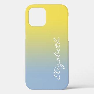 Handwritten Script Name Yellow Light Blue Gradient Case-Mate iPhone Case