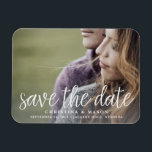 "Handwritten Script | Photo Save the Date Magnet<br><div class=""desc"">A modern magnetic save the date designed to accommodate your favorite horizontal or landscape oriented full-bleed engagement photo. &quot;Save the date&quot; appears as an overlay along the bottom in white handwritten style script lettering,  with your names,  wedding date and wedding location beneath.</div>"