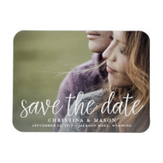 Handwritten Script | Photo Save The Date Magnet at Zazzle