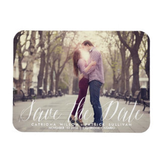 Handwritten Script Photo Save the Date Magnets