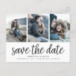 """Handwritten Script Three Photo Save the Date Announcement Postcard<br><div class=""""desc"""">A modern photo collage save the date postcard designed to accommodate three of your favorite engagement photos side by side. &quot;Save the date&quot; appears beneath your photos in black handwritten style script lettering, with your names, wedding date and wedding location beneath. Postcards reverse to show additional save the date details,...</div>"""