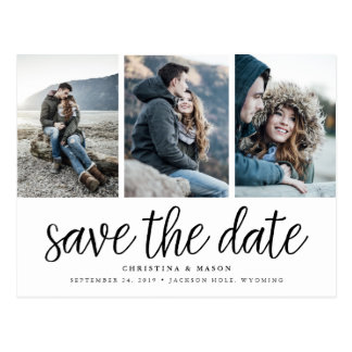 Handwritten Script Three Photo Save the Date Postcard