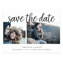 Handwritten Script Two Photo Save the Date Postcard