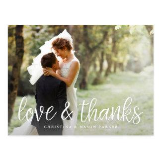 Handwritten Script Wedding Photo Thank You Postcard