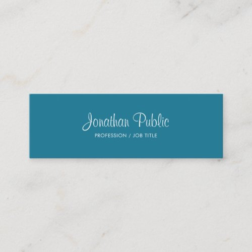 Handwritten Text Trendy Turquoise Color Modern Mini Business Card