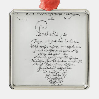 Handwritten Titlepage of The Well Tempered Metal Ornament