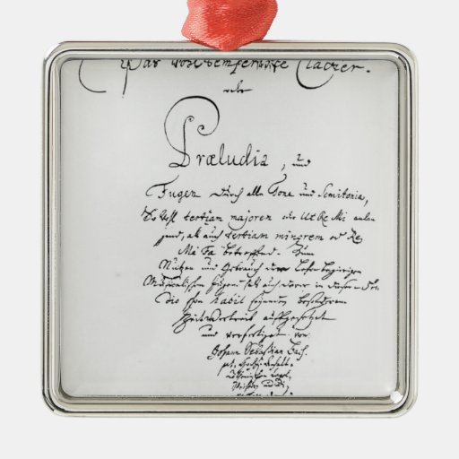 Handwritten Titlepage of The Well Tempered Square Metal Christmas Ornament
