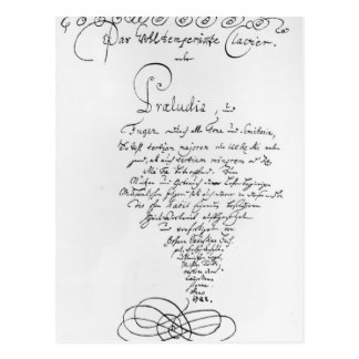 Handwritten Titlepage of The Well Tempered Postcard