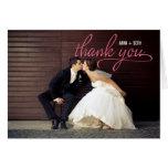 HANDWRITTEN Wedding Thank You Photo Card - Pink Greeting Card