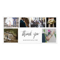 Handwritten Wedding Thank You Six Photo Collage Card